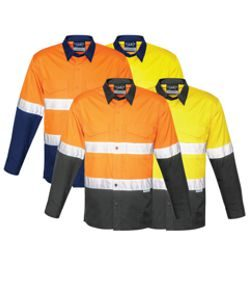 ZW129 Mens Rugged Cooling Taped Hi Vis Spliced Shirt
