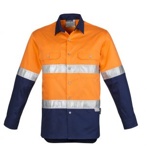 ZW123 Syzmik Cotton Drill Shirt Long Sleeve with 3M reflective tape